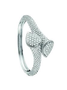 Serpent Boheme bangle in white gold set with diamonds