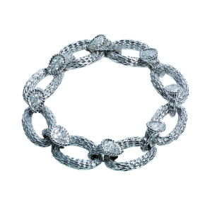 Serpent Boheme chain bracelet in white gold set with diamonds