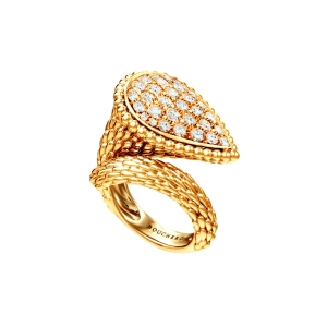 Serpent Boheme large ring in yellow gold set with diamonds