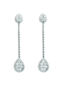 Serpent Boheme pendant earrings in white gold set with diamonds